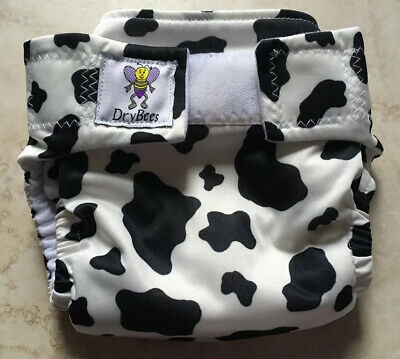 Drybees Cloth Diaper All-In-One Size Small Black White Cow Print