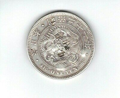 JAPAN EARLY 20TH CENTURY SILVER 1-YEN COIN in FINE CONDITION with CHOP MARKS!