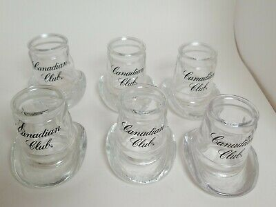Lot of 6 Canadian Club Whiskey Cowboy Hat Shape Shot Glass Toothpick Holder 1987