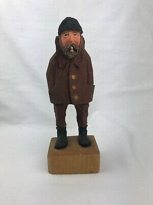 """Hand Carved Seamate/ Dockhand Fisherman Ship Wooden Nautical Figure 8"""" H"""
