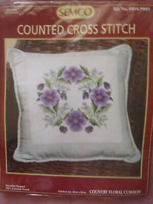 SEMCO: Counted Cross Stitch: Country Floral Cushion: Kit No. 6016.9003