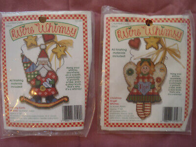 WIRE WHIMSY: Rocking Santa & Angel: Counted Cross Stitch