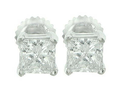 0.80 ct Princess Cut Diamond Stud Earrings in White Gold Screw Bac