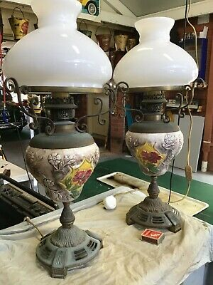 Vintage oil lamp Style mantle lamps powered hand painted pair