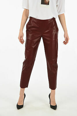 DROME women Trousers Cherry Leather Straight Pants Size S Violet S (Standard ...