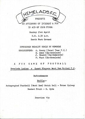 Hemelads Ladies v ex West Ham United (Friendly) 1980s