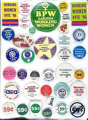 36 Different Women's Rights Protest Buttons Including Union Pins