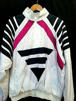 Vintage Adidas 80s 90s Old Skool Windbreaker Parachute Track Jacket  Mens LARGE
