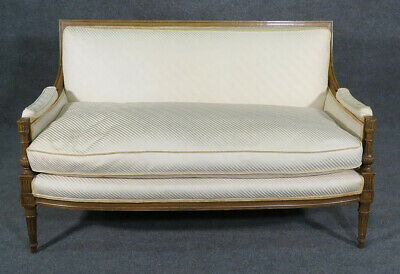 Rare Form French Louis XVI Carved Walnut Settee Canape Sofa w Down Cushion C1920