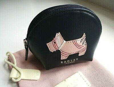 RADLEY London BLACK Leather Coins Note Card ZIPPED PURSE Pocket Pouch Wallet