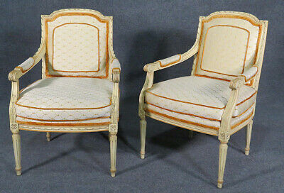 Gorgeous Pair Painted 1920s Era French Louis XVI Fauteuil Open Armchairs
