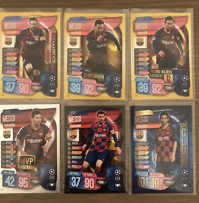 Lionel Messi Match Attax 2019/20 lot of 6 cards inc 100 Club (101),MVP,Centurion