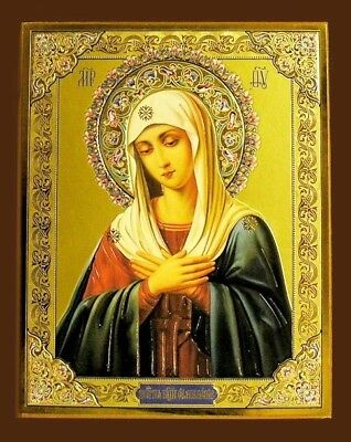 Blessed Mother Russian Icon Wood Lady of Sorrows
