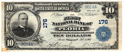 1902 BS $10 The First NB of Peoria, Illinois. Ch. 176. VF. Y00005860
