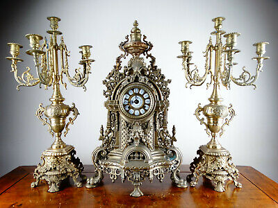 Antique Louis XV Rococo Style Mantel Clock Garniture & Candelabra Franz Hermle