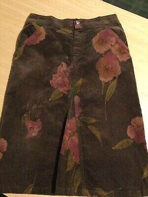 3 Pommes Girls Velour Brown and Pink Skirt Age 6