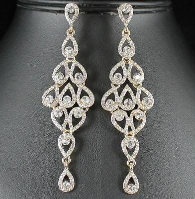 Drops Austrian Crystal Rhinestone Gold Chandelier Dangle Earrings Bridal E2088G