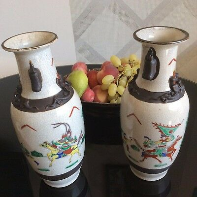 Set Of 2 Antique Chinese Porcelain Crackle Glazed Vases With Warriors And Horses