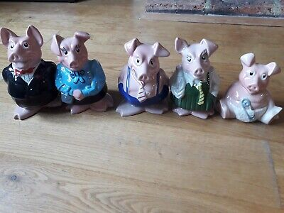 NATWEST PIGS FULL SET WITH STOPPERS- Perfect Condition