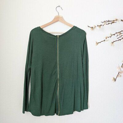 ZARA Top Forest Green Exposed Gold Zipper Loose Drape Fit Boat Neck Womens Small