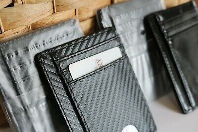 Slim Carbon Black Wallet Leather RFID Blocking ID Credit Card Holder Men & Women