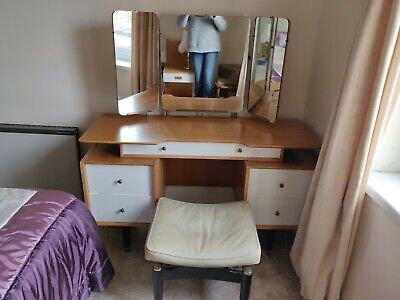G-Plan E Gomme Mid Century Dressing Table and Stool - light oak, good condition