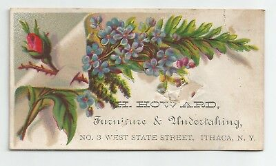 1880s Antique Ad Trade Card H. Howard Furniture & Undertaking Ithaca, NY