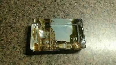 VINTAGE GLASS PAPER WEIGHT PHOTO OLD BUILDING German City Antique Dish