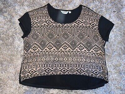 Girls Clothes new look crop top black/brown Aztec detail age 14-15 years