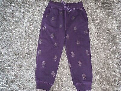 Girls Clothes Next purple jog trousers glitter robot detail age 2-3 years
