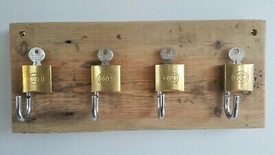 Vintage KEY HOLDER made from old recycled timber and solid brass locks