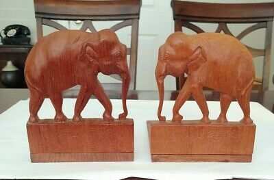 Vintage Hand Carved Teak Wood Folding Elephant Bookends