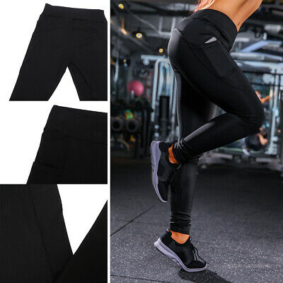 Girls Women Sports Running Elastic Yoga Leggings With Pocket Fitness Gym Pants
