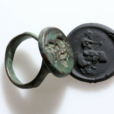 Intact Ancient Roman Bronze Seal Ring Circa 100-200 Ad
