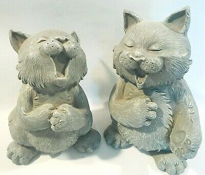Resin Singing Cats Set of 2 Gray 7.5 Inches Tall