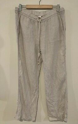 $59 Caslon Womens Pants White Size Large Beige Pull On Drawstring Linen Stretch
