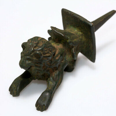 Very Rare Ancient Roman Bronze Lion Nail Ornament Statue Circa 100-400 Ad