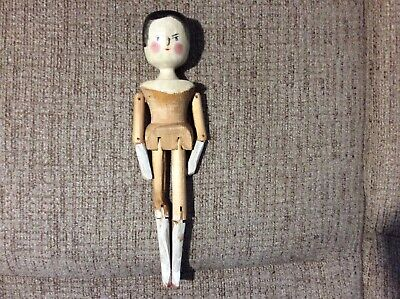 """11.25"""" Primitive Jointed hand Painted Penny Peg Wooden Doll"""