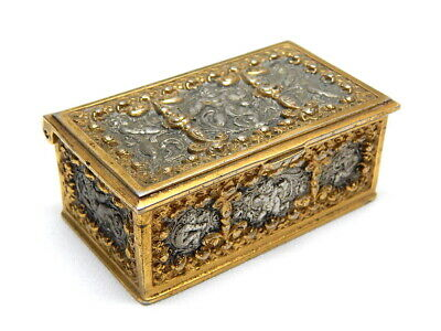Gorgeous Antique 1800's Erhard&Sons Bronze & Silver Cherubs 3 Sections Stamp Box