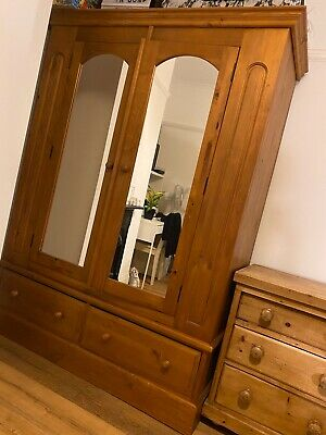 Antique Pine Double Mirrored Wardrobe