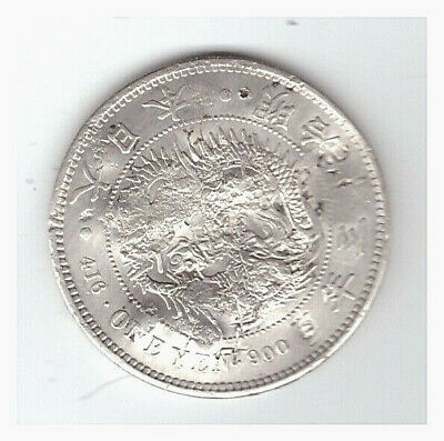 JAPAN EARLY 20TH CENTURY SILVER 1-YEN COIN in FINE CONDITION w/ MANY CHOP MARKS!