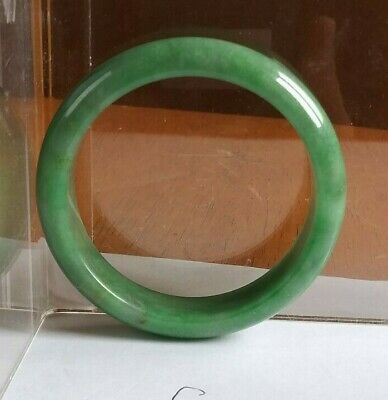 China Full Green Jadeite jade Half Round side Bracelet 玉镯