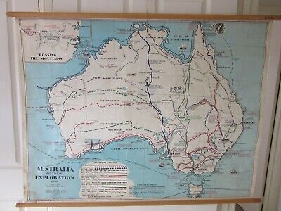 VINTAGE AUSTRALIA PICTORIAL EXPLORATION WALL  By CHAS H SCALLY & Co