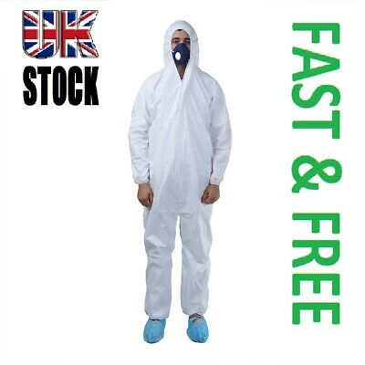 Disposable White Coveralls Overalls Painters Protective Boilersuit L 2XL XXL