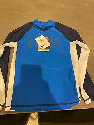 Wave Zone Blue, White & Black Rash Shirt Size 10 BRAND NEW WITH TAGS