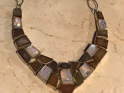 "Vintage Choker Necklace 18"" Sterling .925 Silver Moonstones Brown Druzy Quartz"