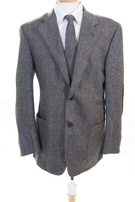 Canali  Mens Two Button Classic Blazer Grey Brown Wool Size 52
