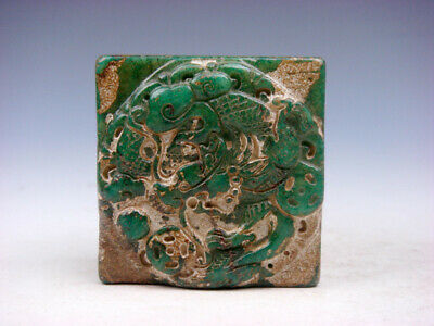 Old Nephrite Jade Stone Carved Seal Paperweight Dragon Pearl & Coins #08021905