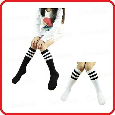 Cute Kids Children Crew Sock Socks-Black White With Stripe Stripes-School-Party