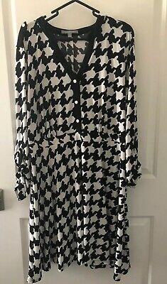 NY Collection Womens Dress Black White 2X Plus Houndstooth